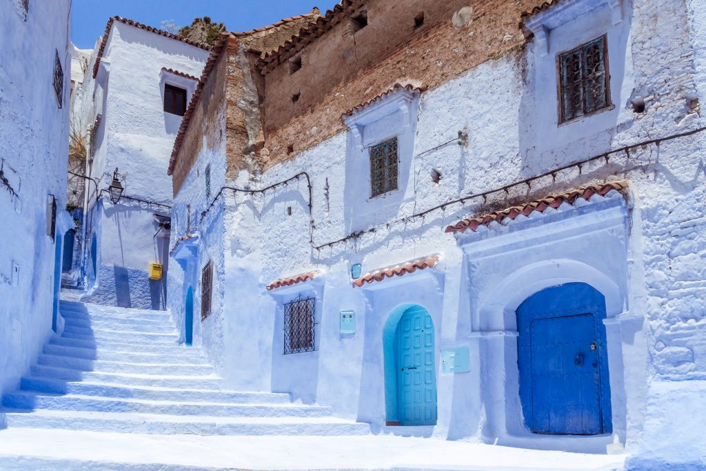 Stairway in the blue medina of Chefchaouen, Morocco